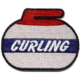 This curling stone, or curling rock as it's called in America, has a red handle, grey body, and a blue stripe with the word ''Curling'' embroidered in white letters.