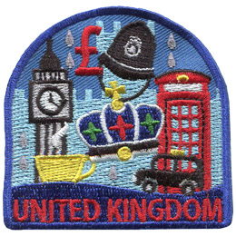 This patch displays a wide variety of United Kingdom culture including: the royal crown, Big Ben, Windsor Castle, a British phone booth, a cup of tea, a taxie, rain drops, the symbol for the UK's currency (the pound), and a police hat.