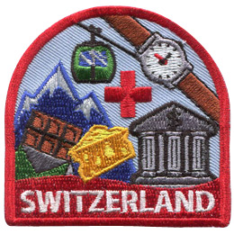 This patch displays a wide variety of Swiss culture including: Swiss chocolate, cheese, a bank, a watch, a gondola cart, the Swiss Alps, and the Red Cross symbol.