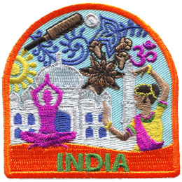 An Indian woman dances next to the Taj Mahal, a great white palace. In front of the hall is a human silhouette sitting cross legged and its hands raised above its head. In the background, behind the Taj Mahal are beautiful henna designs. At the bottom of the patch is the word 'India.'