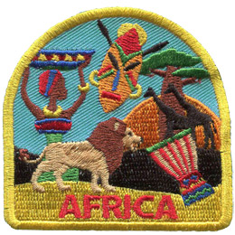 An African dressed in colourful clothes carries an equally colourful bowl on her head. Beside her is a tiki mask, a lion, a baobab tree, two giraffes, and a drum. The background is a blue sky with a setting or rising sun. At the bottom of the patch is the word 'Africa.'
