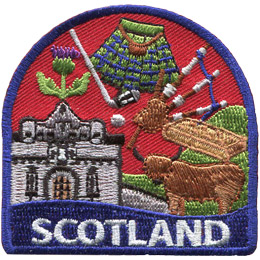 This patch displays a wide variety of Scottish culture including: a yak, a castle, a golf club and ball, a kilt and bagpipes.
