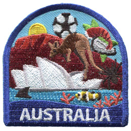 This patch displays a wide variety of Australian culture including: a kangaroo, they Sydney Opera House, a spider, a shark fin, a clown fish, the Great Barrier Reef, Ayers Rock, and a soccer ball/foot ball.