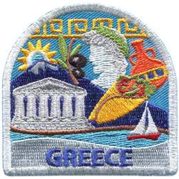 This patch displays a wide variety of Grecian culture including: Mount Olympus, a Grecian bust, the Parthenon, a branch with black olives, and pottery.