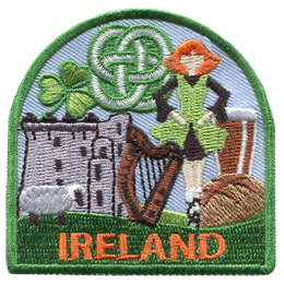 This patch displays a wide variety of Irish culture including: a highland dancer, Trim Castle, a sheep, a shamrock, and a Celtic knot.