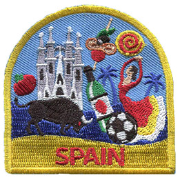 This patch displays a wide variety of Spanish culture including: a Spanish dancer, La Sagrada Familia, a bull, a football, and a tomato.