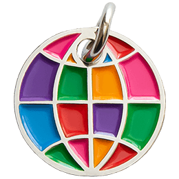 A multi-coloured globe has been turned into a decorative metal charm.