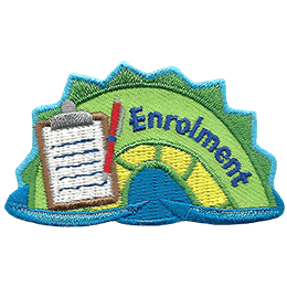 The middle hump of a sea serpent. The word \'Enrolment\' is embroidered along the right of the hump. A clipboard and pen rest on the leftmost section of the hump.