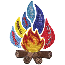 When pieced together, this set creates the image of a roaring campfire with multi-coloured flames shooting off. From left to right the flames represent: Rainbow, Brownie, Guide, Ranger, Leader, and Trefoil Guild.