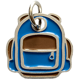 This metal charm is shaped like a backpack with a big front pocket and two side pockets.
