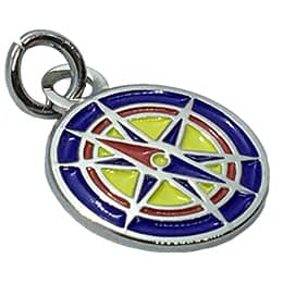 This circular charm is shaped like a magnetic compass.
