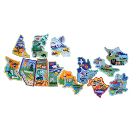 A geographic image of the country Canada is formed using 13 patches, each one representing a Canadian province or territory. Each crest is decorated with the name of the province/territory, the capital city, and famous landmarks or icons to represent the culture of the province/territory.