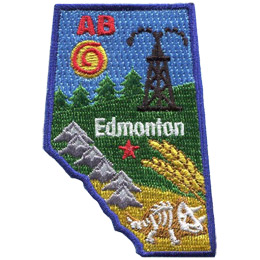 This patch is shaped like the province of Alberta and decorated with Alberta images such as the Rocky Mountains, boreal forest, wheat, fossils, and derricks.