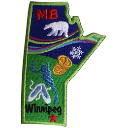 This crest is shaped like the province of Manitoba. Decorating it are: the initials MB, a polar bear, the aurora Borealis, a snowflake, two loonie coins, a lake, a pair of slippers, and the capital Winnipeg.