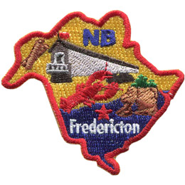 This crest is shaped like the province of New Brunswick. Decorating it are: the initials NB, the Heartland Covered Bridge, lumber, a lobster, the ocean, and the capital city Fredericton.