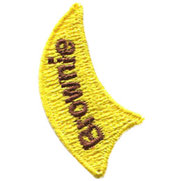 This yellow flame with the word 'Brownie' is the second left most part of the Flames of Guiding UK 7 Piece Set.