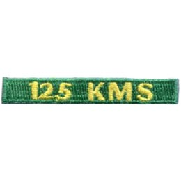 125, Kilometers, KMS, Hike, Boot, Mountain, Stream, Path, Mile, Patch, Embroidered Patch, Merit Badge, Badge, Emblem, Iron On, Iron-On, Crest, Lapel Pin, Insignia, Girl Scouts, Boy Scouts, Girl Guides