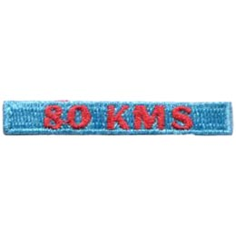 80, Kilometers, KMS, Hike, Boot, Mountain, Stream, Path, Mile, Patch, Embroidered Patch, Merit Badge, Badge, Emblem, Iron On, Iron-On, Crest, Lapel Pin, Insignia, Girl Scouts, Boy Scouts, Girl Guides