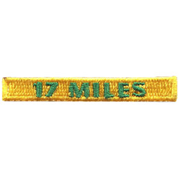 This rectangular patch says, '17 Miles' to commemorate 17 miles hiked.