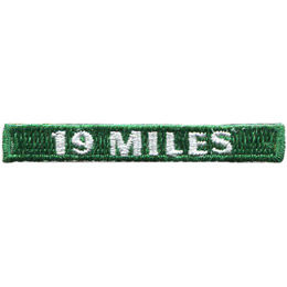 This rectangular patch says, '19 Miles' to commemorate 19 miles hiked.