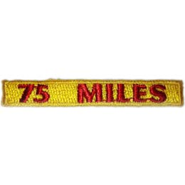 Rockers, 75, Miles, Hiking, Hike, Boot, Stream, Mountain,, Patch, Embroidered Patch, Merit Badge, Badge, Emblem, Iron On, Iron-On, Crest, Lapel Pin, Insignia, Girl Scouts, Boy Scouts, Girl Guides