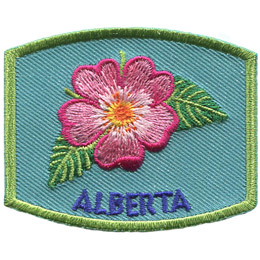 This patch displays Alberta's provincial flower: the wild rose.