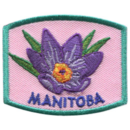 This patch displays Manitoba's provincial flower: the prairie crocus.