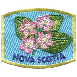 This patch displays Nova Scotia\'s provincial flower: the mayflower.