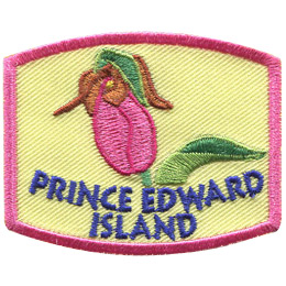 This arching rectangle patch displays Prince Edward Island's provincial flower: the lady's slipper.