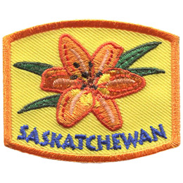 This patch displays Saskatchewan\'s provincial flower: the western red lily.